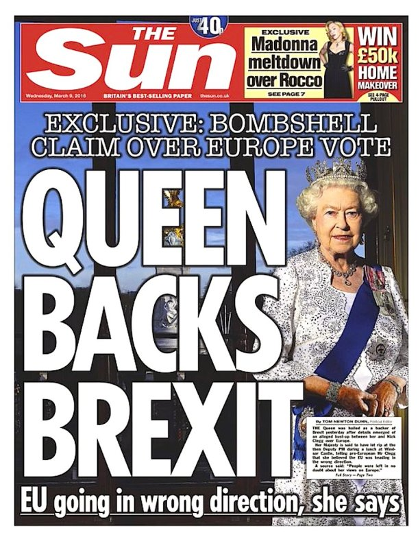 Sun - Queen Backs Brexit